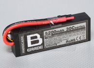 B-Grade 5200mAh 2S 30C Hard-Case Lipoly Battery