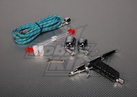 Twin-action fine needle pistol air brush set